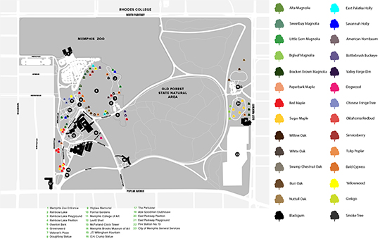 Overton Park planting map