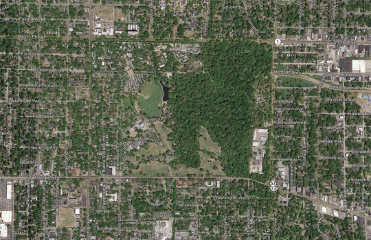 Overton Park aerial view